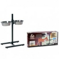 Две миски на штативе для собак Karlie-Flamingo (Карли-Фламинго) H-STAND WITH DISHES M, миски из пищевой нержавеющей стали>