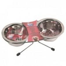 Karlie-Flamingo DINNER SET миска двойная на подставке для собак, нержавейка
