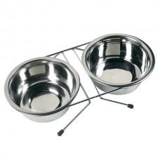 Karlie-Flamingo DUO DINNER миска двойная на подставке для собак нержавейка 2х14 см = 0,75 л