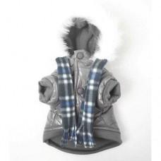 MonkeyDaze ПАРКА (grey parka) серая куртка с шарфом, одежда для собак