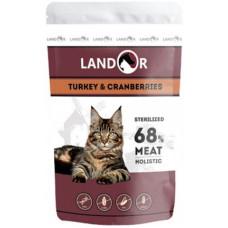 Landor полноценный сбалансированный влажный корм для стерилизованных взрослых кошек индейка с клюквой
