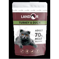 Landor полноценный сбалансированный влажный корм для взрослых кошек индейка с уткой