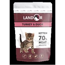 Landor полноценный сбалансированный влажный корм для котят индейка с уткой