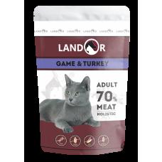 Landor-Полноценный сбалансированный влажный корм для взрослых кошек куропатка с индейкой