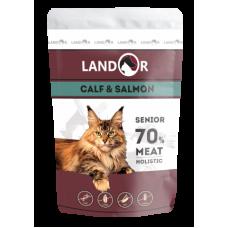 Landor полноценный сбалансированный влажный корм для пожилых кошек телятина с лососем