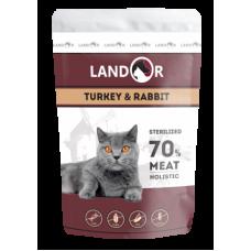 Landor полноценный сбалансированный влажный корм для стерилизованных взрослых кошек индейка с кроликом